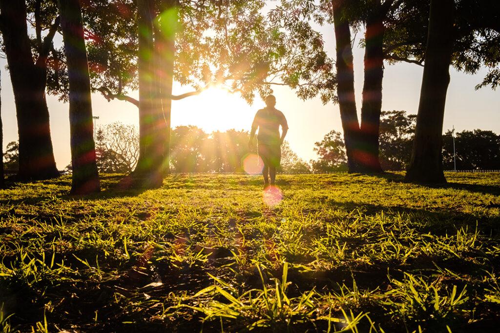 person-walking-through-field-sunset